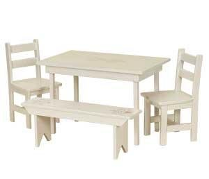 American Made Maple Wood Kids Dining Table Set (White Paint) - Maple Set Bench