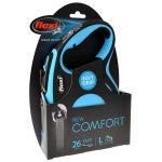 Flexi New Comfort Retractable Tape Leash - Blue Large - 26' Tape Pets up to 110 lbs (9 Pack)