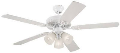 Westinghouse Vintage Three-Light 52-Inch Five-Blade Ceiling Fan, White with Frosted Ribbed Globes#78627