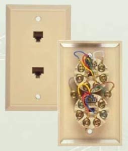 Allen Tel Products AT268 6 Conductor, 6 Position And 8 Conductor, 8 Position Plastic Non-Keyed Flush Duplex Wall Outlet Jack, Ivory ()