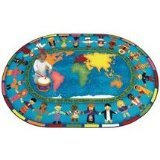 Joy Carpets Kid Essentials Inspirational Oval Let The Children Come Area Rug, Multicolored, 7'8'' x 10'9'' by Joy Carpets