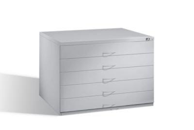 CP Zeichnungsschrank - für Format DIN A1 5 Schubladen, lichtgrau RAL 7035, Gewicht ca. 113 kg - Archivierungsschrank Archivierungsschränke Schrank Schubladenschrank Zeichnungsschrank Zeichnungsschränke