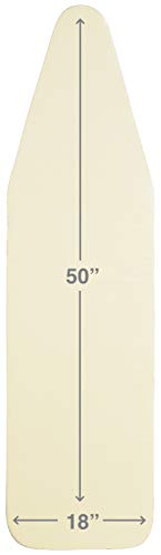 TIVIT 18 x 50 Inch Eco-Friendly, Natural Ironing Board Cover - Untreated, Unbleached, Chemical-Free 100% Cotton top & Natural Wool Padding - Beige Color (Patent Pending)