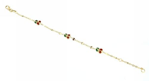 18KT Yellow Gold Small 3 Red Enamel Cherry Bracelet 6 inches