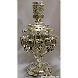 Grapes Motifs Silver Plated 12 Cup Kiddush Wine Fountain on Arms and Base
