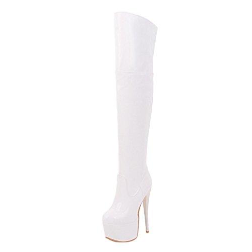Enmayer Dames Pu Materiaal Hoge Hakken Ronde Neus Zip Platform Stiletto Over De Knie Laarzen Wit # 22