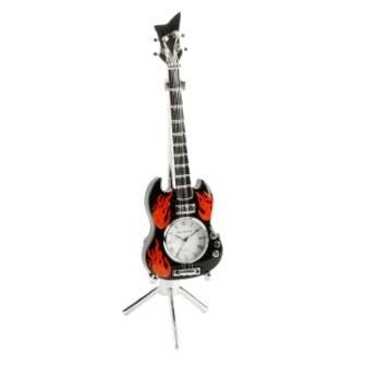 Miniatura Reloj Rojo llamas y negro guitarra eléctrica en un soporte de plata en un grabado personalizado caja de regalo libre: Amazon.es: Hogar