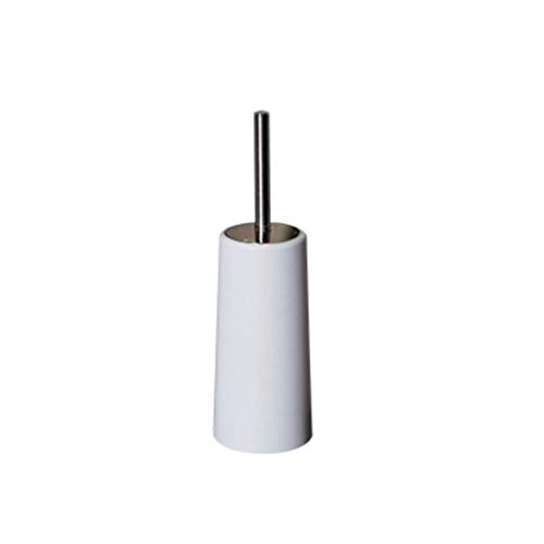 JIA J Toilet Brush Holder Stainless Steel Creative Bathroom Wash Toilet Brush Cylindrical Toilet Brush Head Plastic Barrel Body Black and White Two Colors H34.5 cm A+ (Color : White)