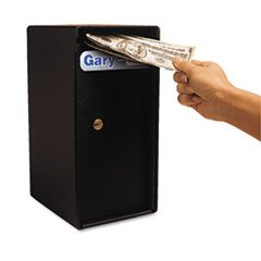 Compact Trim Safe (Theft-Resistant Compact Cash Trim Safe, .2 ft, 6w x 7d x 12h, Black)