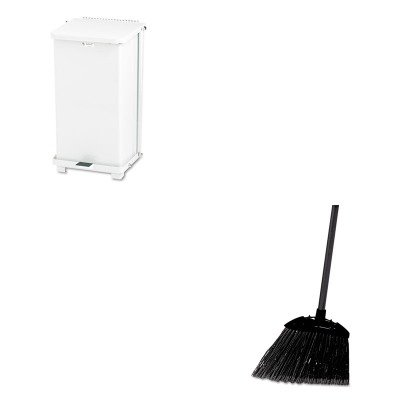 KITRCP637400BLARCPST12EPLWH - Value Kit - Defenders Biohazard Step Can, Square, Steel, 12 gal, White (RCPST12EPLWH) and Rubbermaid-Black Brute Angled Lobby Broom (RCP637400BLA) by Rubbermaid
