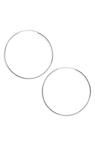 Argento Vivo Silver SS Extra Large Endless Hoop Earrings