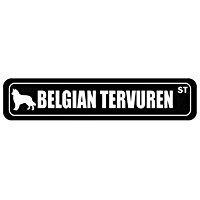 Belgian Tervuren Street Silhouette - Dogs - Street Sign [ Decorative Crossing Sign Wall Plaque ] ()