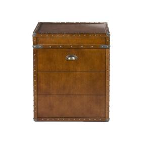 SEI Furniture Steamer Trunk End Table - Rustic Nailhead Trim - Refinded Industrial Style farmhousedecoratingideas.com Refined industrial style with a antique walnut finish that will vary from piece to piece for a unique look Rustic nailhead trim with an opening lid to reveal ample storage Overall dimensions measure 20 inches wide x 20 inched deep x 23.5 inches high