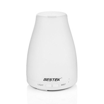 Price comparison product image BESTEK 120ml Aromatherapy Essential Oil Diffuser Ultrasonic Cool Mist Humidifier with Changing Colored LED Lights,  Waterless Auto Shut-off and Adjustable Mist Mode