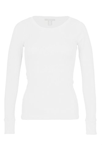Fitscloth Women's RT1205 Waffle Thermal Crew Neck T Shirt White Small