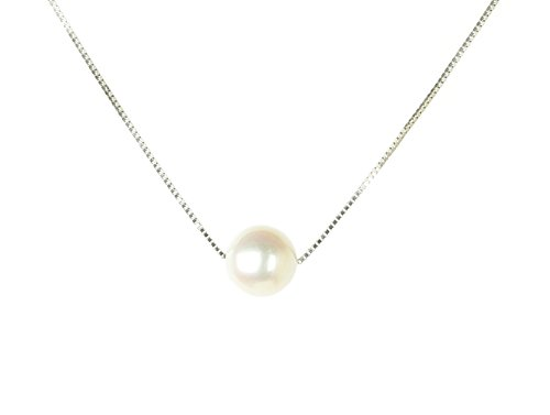 Silver Single Strand Necklace (HinsonGayle AAA GEM 10mm White Round Freshwater Cultured Single Pearl Solitaire Necklace Silver-18 in length)