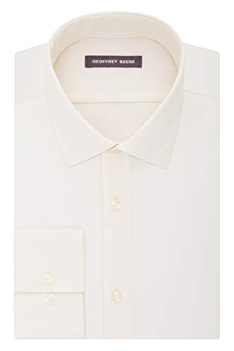 Geoffrey Beene Men's Sateen Fitted Solid Spread Collar Dress Shirt, Almond, 17