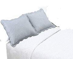 ALL FOR YOU 2-Piece Embroidered Quilted Pillow Shams-Standard Size (Silver/Gray/Platinum Color)