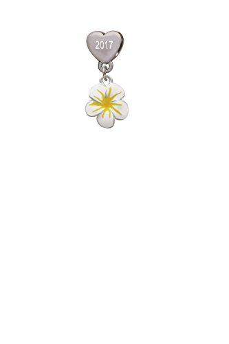 White and Yellow Flower Custom Year Stainless Steel Heart Bead Charm