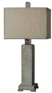 Uttermost 26543-1 Risto Lamp, Concrete Base, Brushed Aluminum