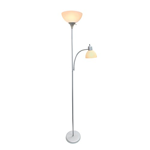 Simple Designs Home LF2000-SLV Floor Lamp with Reading Light, Silver by Simple Designs Home (Image #3)