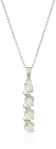 Sterling Silver 4-Stone 4mm Genuine and Lab-Created Gemstone Pendant Necklace, 18""