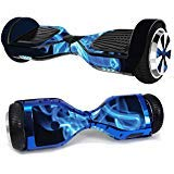 MightySkins Skin Compatible with Hover-1 H1 Hoverboard Scooter - Blue Flames | Protective, Durable, and Unique Vinyl Decal wrap Cover | Easy to Apply, Remove, and Change Styles | Made in The USA