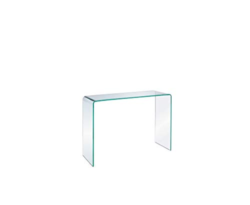 Clear Glass Console Small in H30 xW36 x D8 Take Me Home Furniture Waterfall Glass Console Table