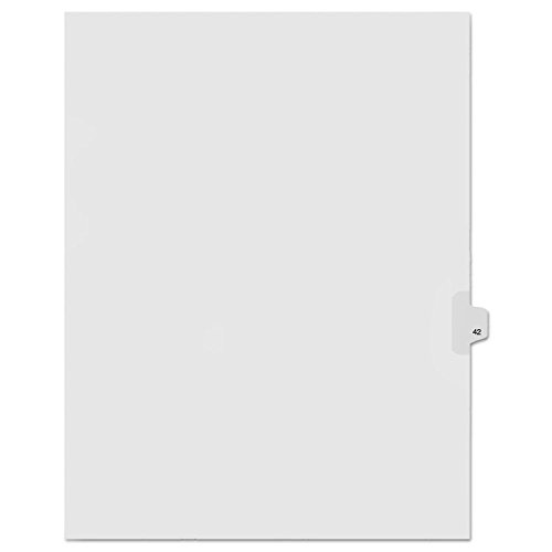 Kleer-Fax Letter Size Individually Numbered 1/25th Cut Side Tab Index Dividers, 25 Sheets per Pack, White, Number 42 (91042)