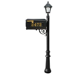 Mailbox w/Post Fluted Base & Solar Lamp, with Vinyl Numbers, Black (Bayview Solar Lamp)