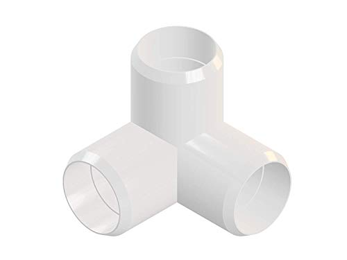 3way 3/4 inch PVC Elbow Corner Side Outlet Tee Fitting, Furniture Grade, White [Pack of 8]