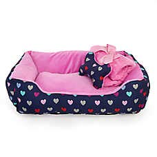 Grreat Choice Hearts Cuddler Pet Bed Gift Set~ 17 in L x 22 in W x 6.5 in H ~