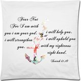 Bible Verse Pillow Case – Isaiah 41.10 Fear Not,For I am with you I am your God Anchor 18×18 Zippered inch Two Sides Square Pillow Covers