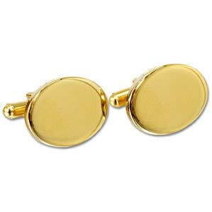 (REGENT gifts Personalised Gold Plated Oval Cufflinks)