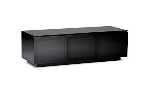 BDI Mirage 8227-2, Triple Wide Enclosed Cabinet ( Satin Black with Black Glass Top) ()
