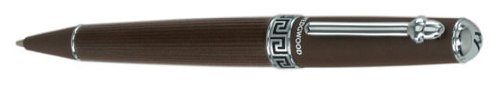 Jasperware Ring - Wedgwood Chocolate Ballpoint Pen, Greek Key Motif Middle Ring with Chrome Accents