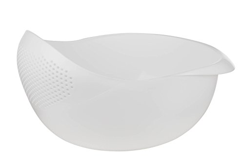 - Prep and Serve Multi-Function Bowl with Integrated Colander (Large, White)