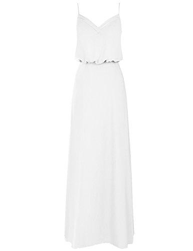 Cdress Des Femmes De Robes De Demoiselle D'honneur En Mousseline De Soie À Double Bretelles Col V Blanc Long Bal Formel