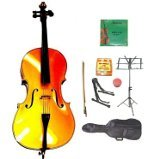 GRACE 1/2 Size Gold Cello with Bag and Bow+Rosin+Extra Set of Strings+Tuner+Cello Stand+Music Stand