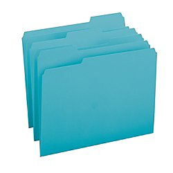 Folders Top Manila Single (Smead File Folder, 1/3-Cut Tab, Letter Size, Teal, 100 per Box (13143))