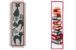 2 Item Cross Stitch Bookmark Kit Bundle : Stack of Books and Black Cat (Cross Black Cat Stitch)
