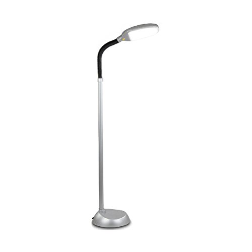 Brightech Litespan LED Reading and Craft Floor Lamp - Dimmable Full Spectrum Natural Daylight Sunlight LED Standing Light with Gooseneck for Living Room Sewing Bedroom Office Task – Titanium Silver