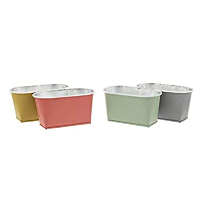 Set of 4 Oblong Metal Bucket Planters in Pink, Yellow, Green, Grey
