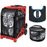 Zuca Tiger Sport Insert Bag and Red Frame with Flashing Wheels, Matching Lunchbox and Seat Cushion