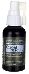 Peaceful Mountain Throat Rescue Dietary Supplement, 2 Ounce -- 1 each. (Homeopathic Sore Throat Spray)