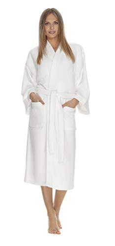 - Boca Terry Womens Robe - Plush Kimono Bathrobe for Women - Thick & Warm Microterry Bathrobe - Medium/Large White