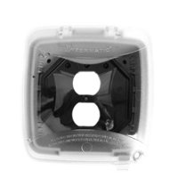 Intermatic WP5221C Electrical Box, 2.25'' Single/Double Gang Plastic While-In-Use Weatherproof Vertical Cover w/Single Gang Duplex & GFCI Inserts- Clear