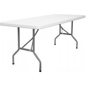Plastic Folding Table 30 x 72 Multipurpose, Heavy Duty Utility Table for Indoors and Outdoors, Camping, Picnics, Barbecues and More – 6 Feet – by Ontario Furniture
