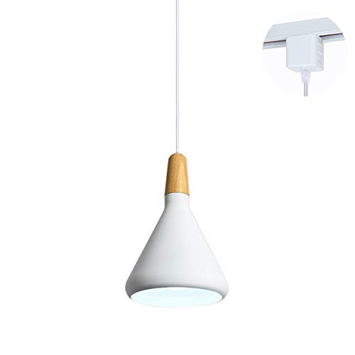 ANYE Wooden Socket Pendant Light H-Type Track Light Pendants 3.2 ft Cord White Lampshade Light Fixtures Nordic Minimalist Lighting Loft Style Lamps for Dining Room Bulbs Not Included