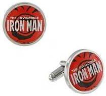 Iron Man Silver Tone & Red Round Cuff Links